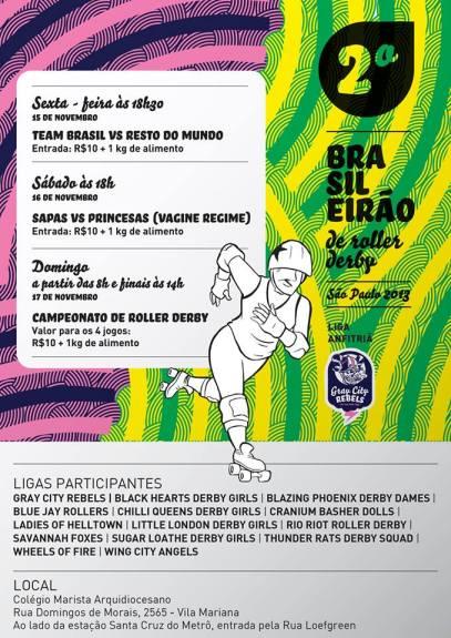 Programação dos jogos do Brasileirão de Roller Derby.